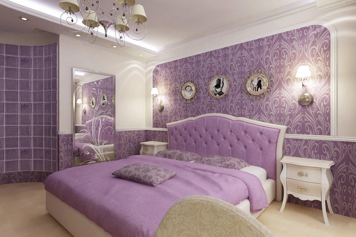 Сиреневая спальня с золотым декором