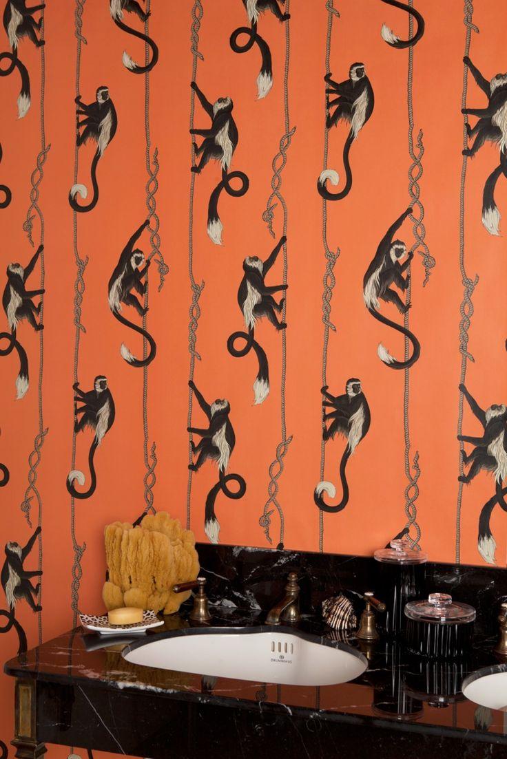 Оранжевые обои в африканском стиле