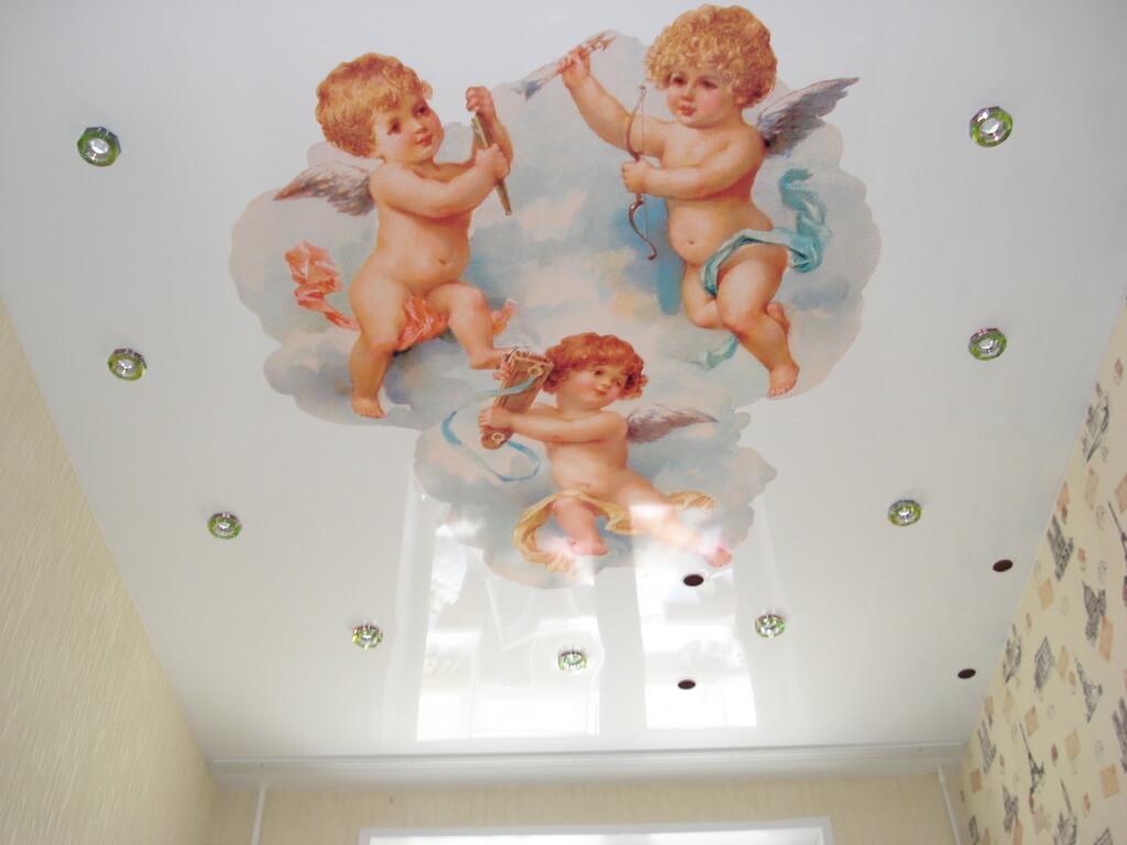 """Натяжной потолок с фотопечатью """"Ангелы"""""""