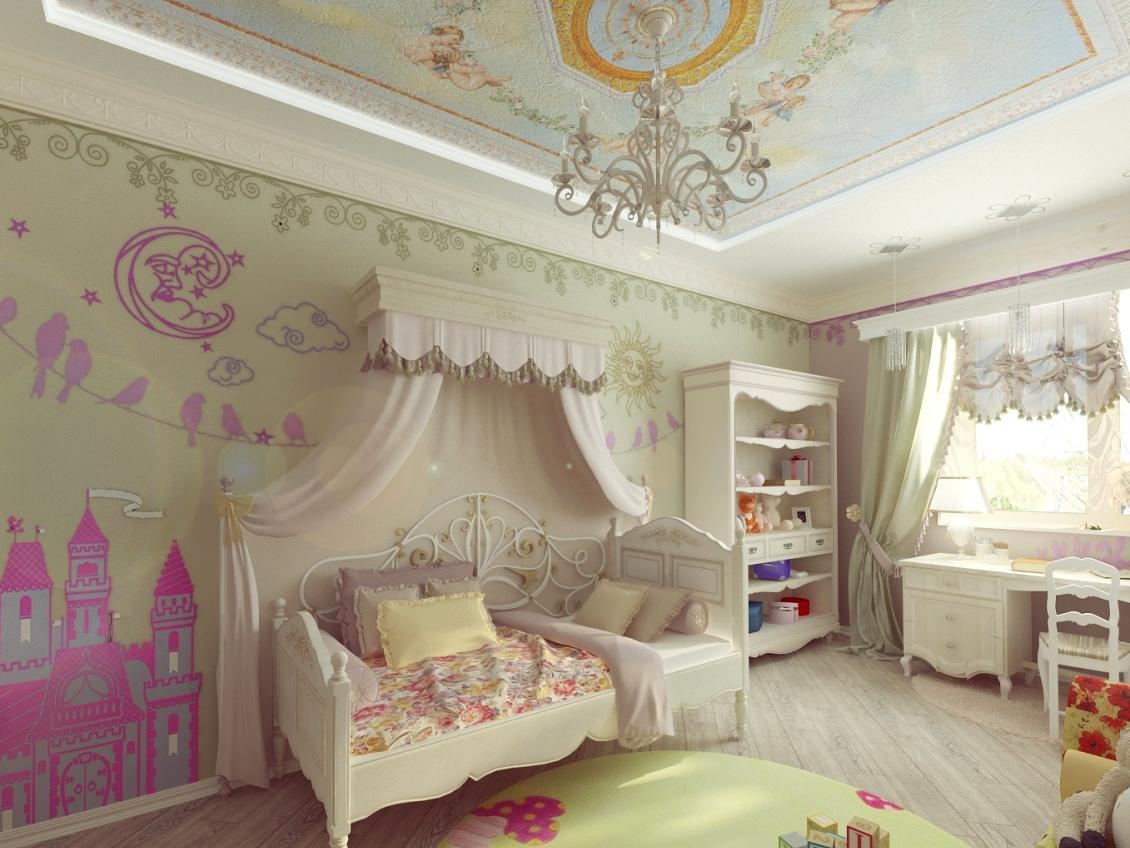 Ангелы на потолке в детской для девочки