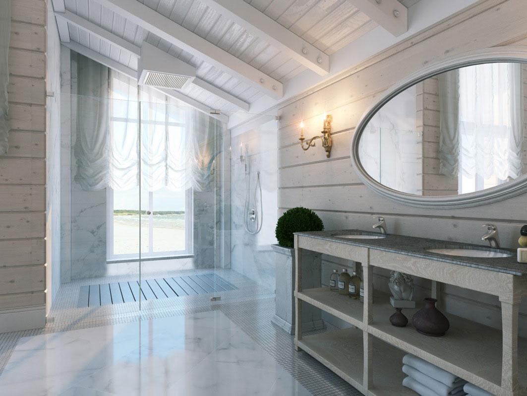Балки на потолке в ванной