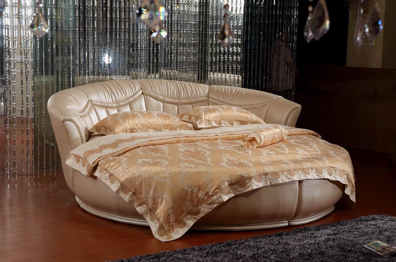 Бежевая овальная кровать