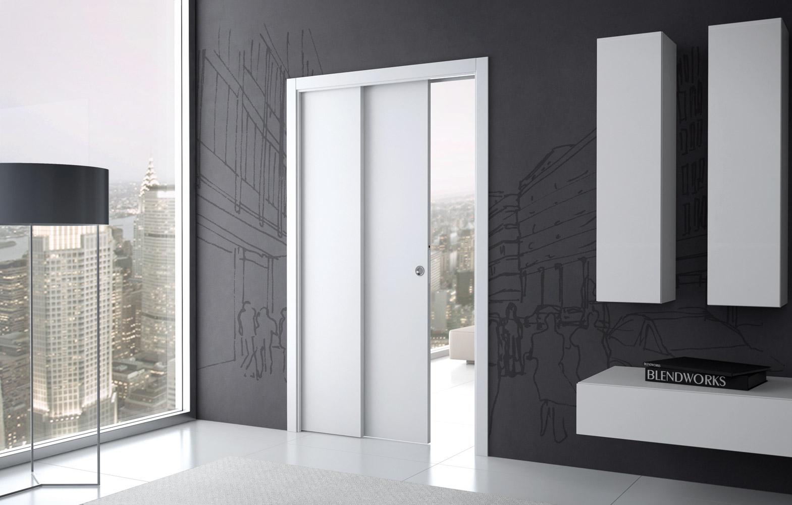 Навесная белая дверь