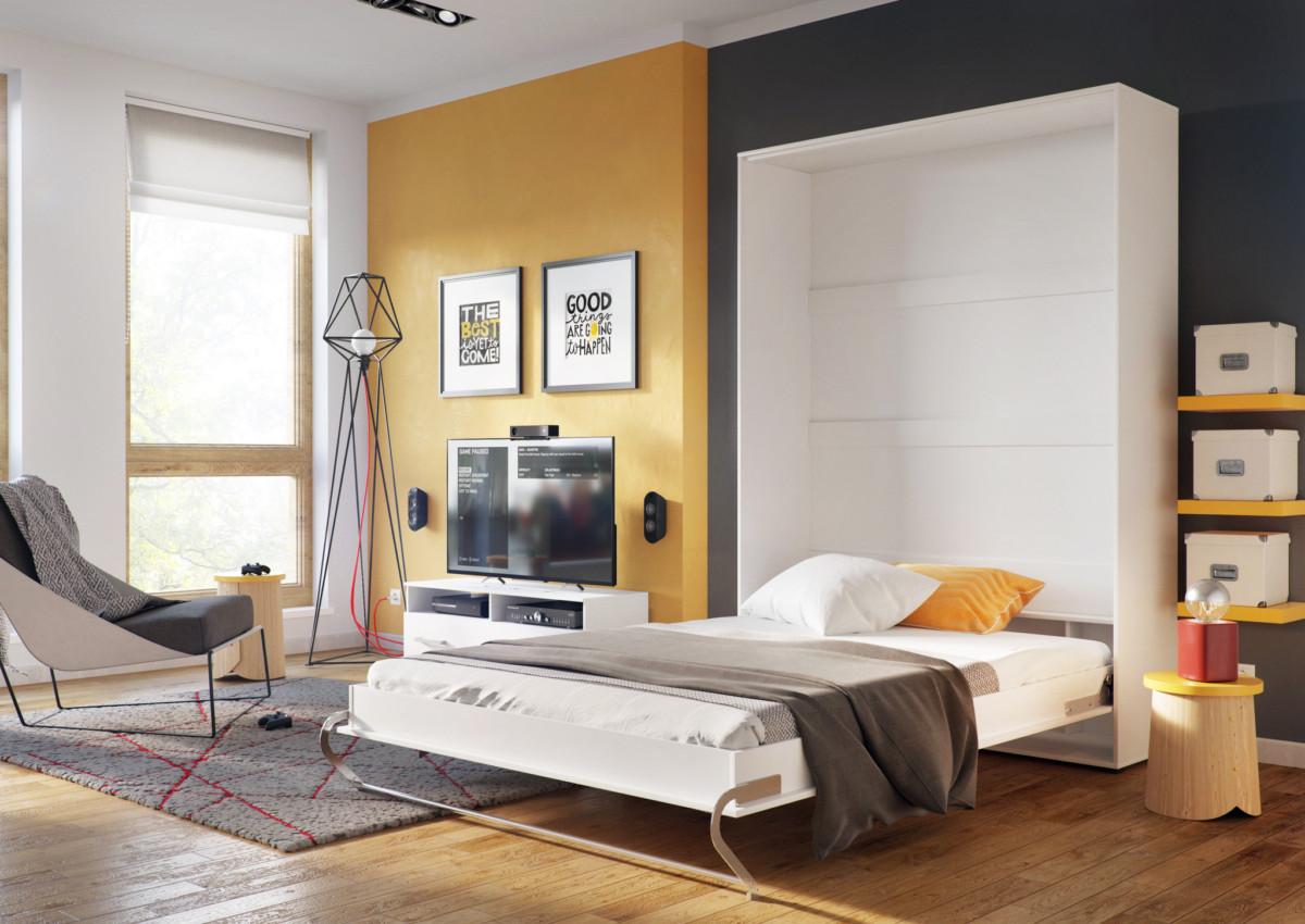 Белая кровать-тумба