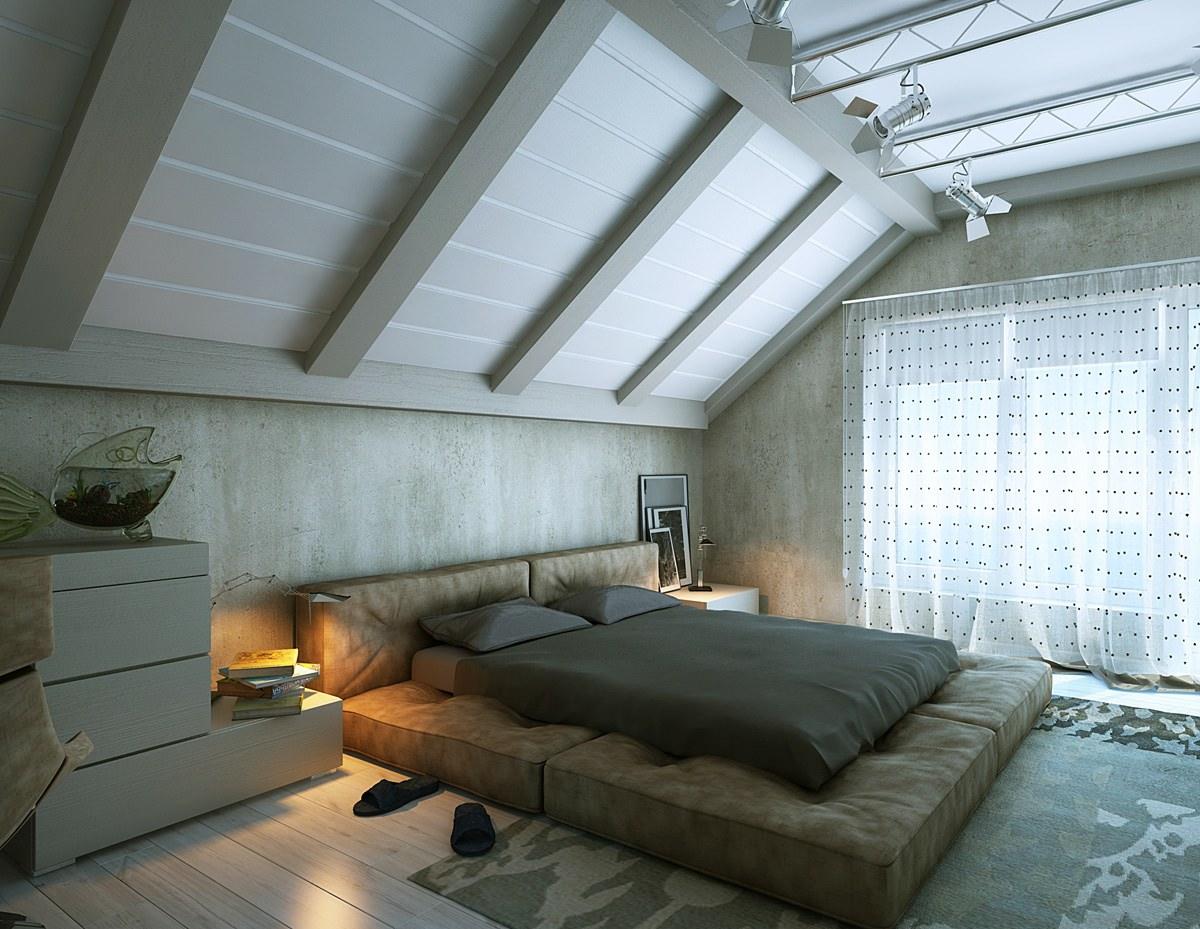 Белый мансардный потолок