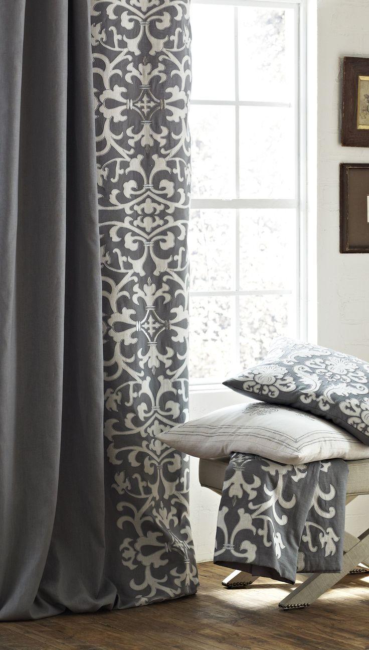 Серые шторы с белым рисунком