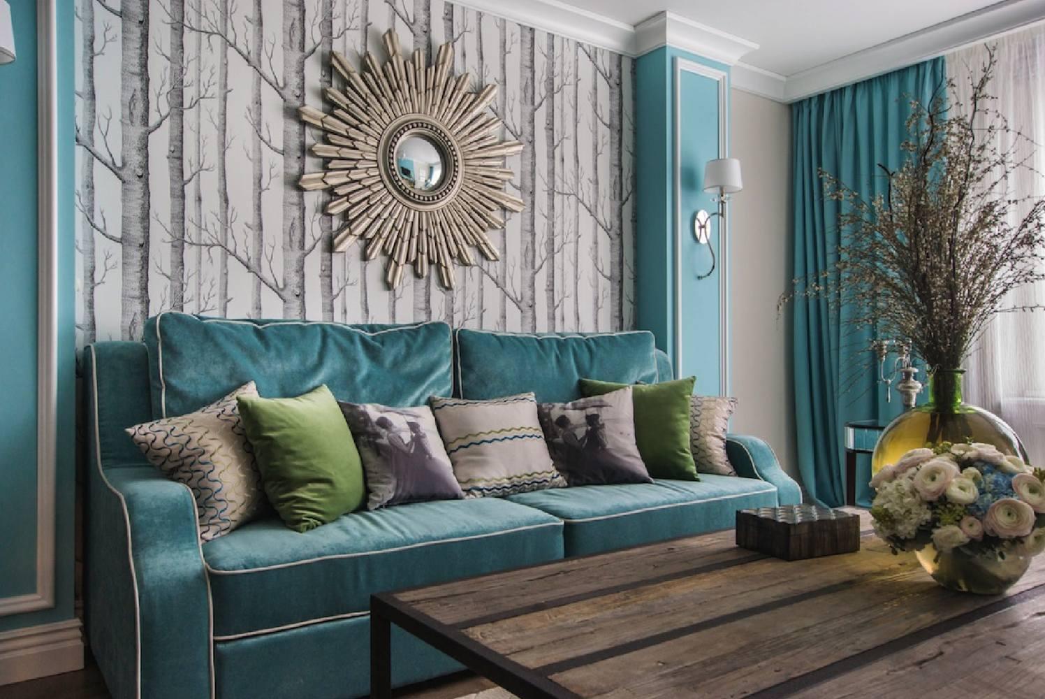Бирюзовый малогабаритный диван