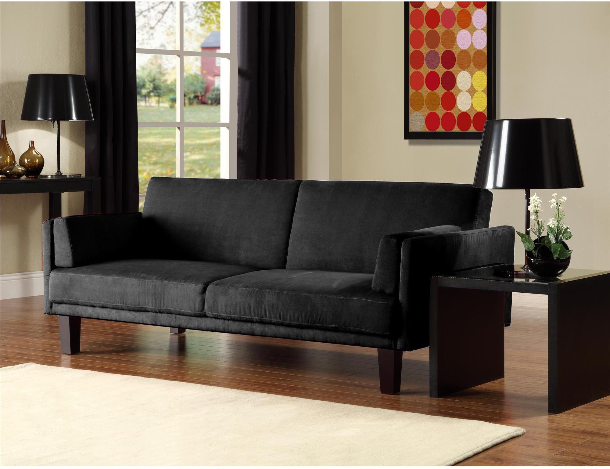 Черный малогабаритный диван