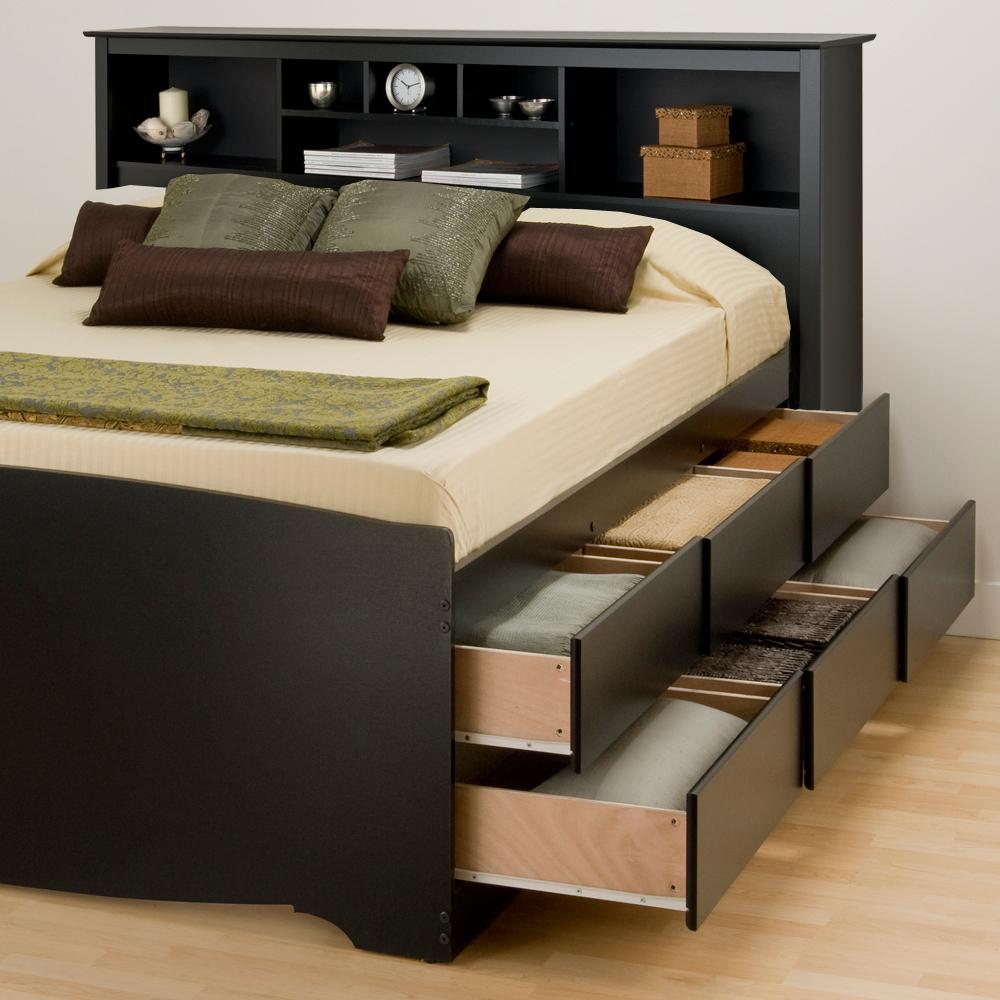 Черная кровать-тумба
