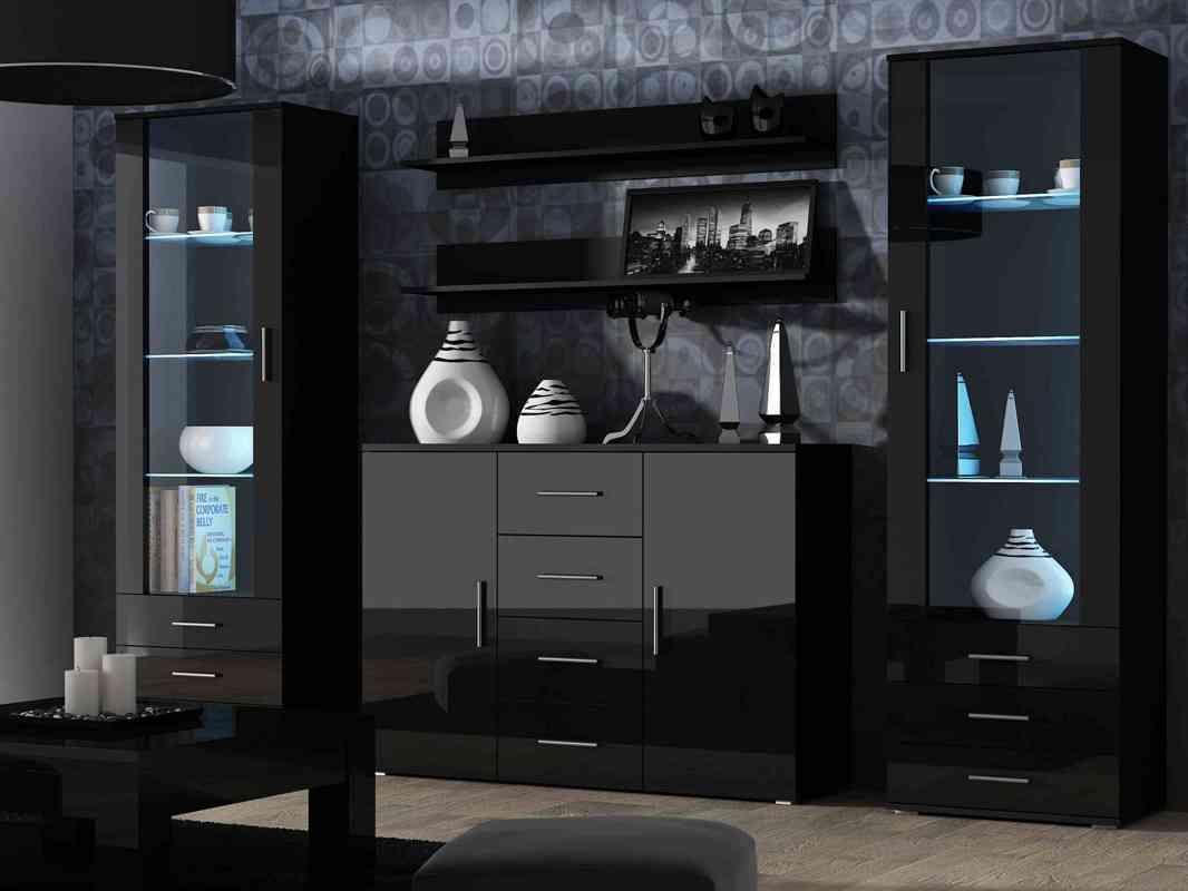 Черная глянцевая гостиная