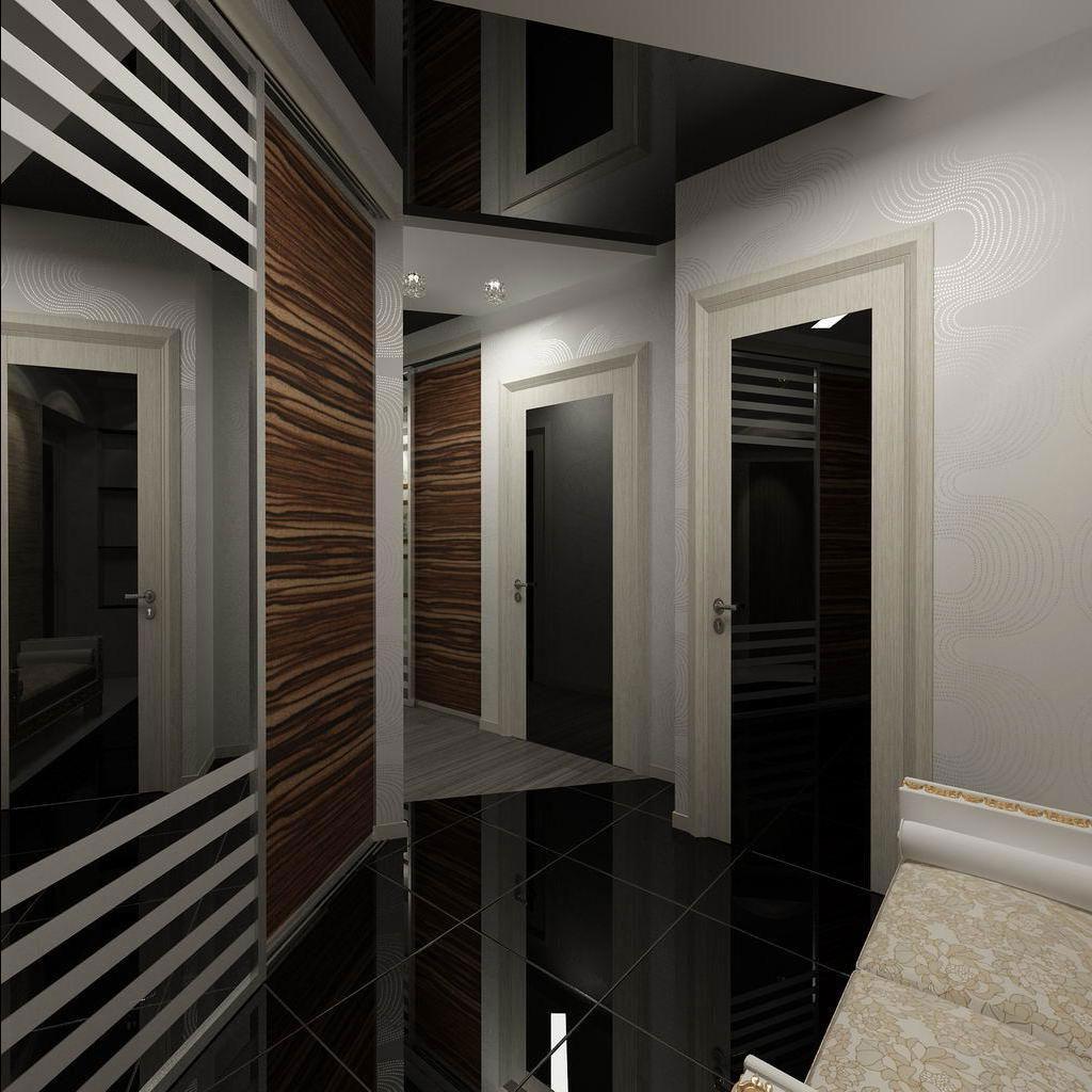 Черный потолок в прихожей
