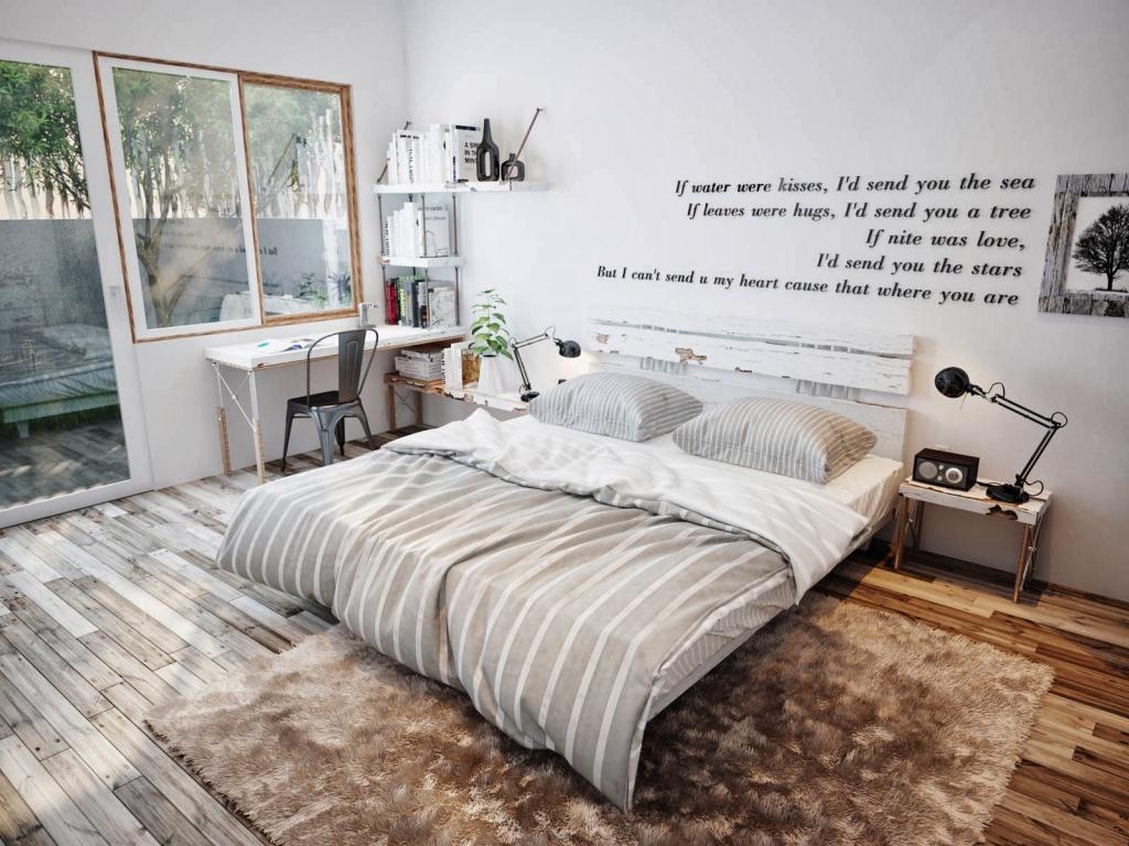 Цитата на стене спальни