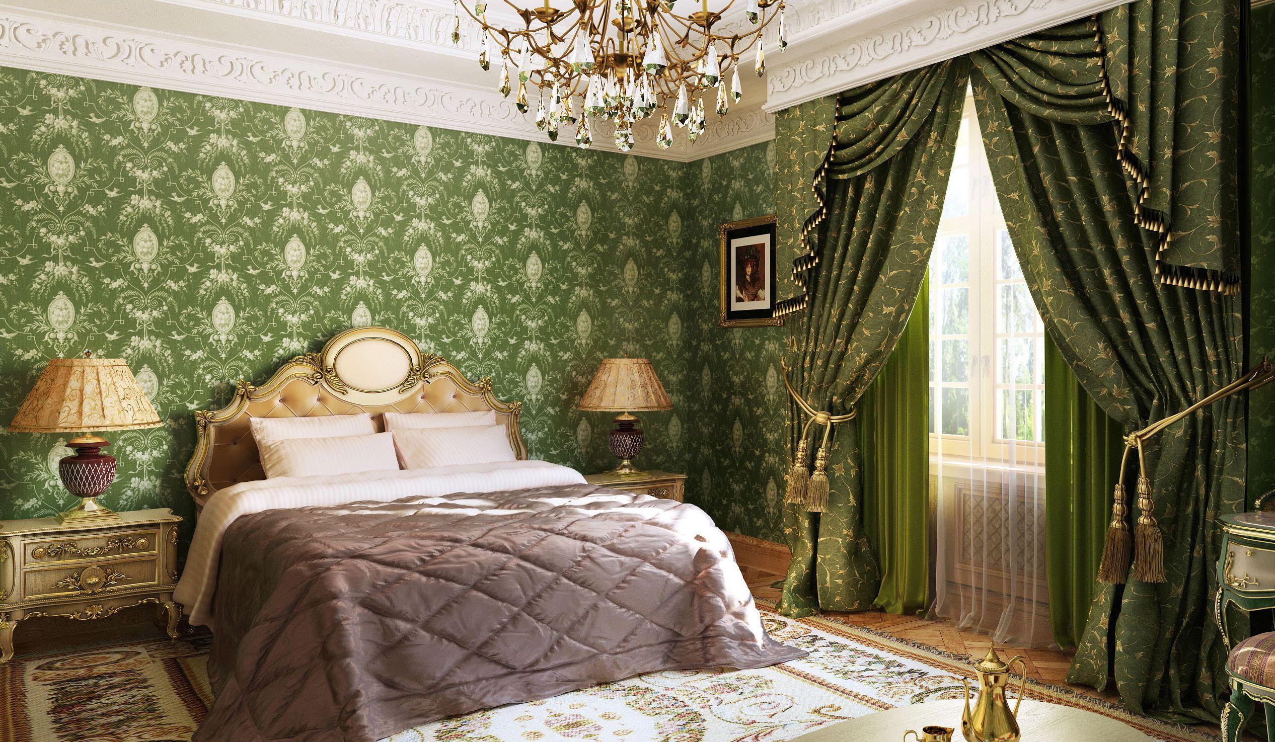 Зеленые обои в классическом стиле