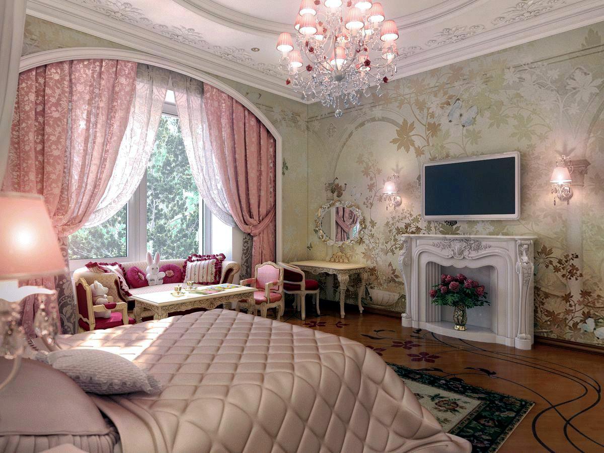 Розовые шторы в классическом стиле