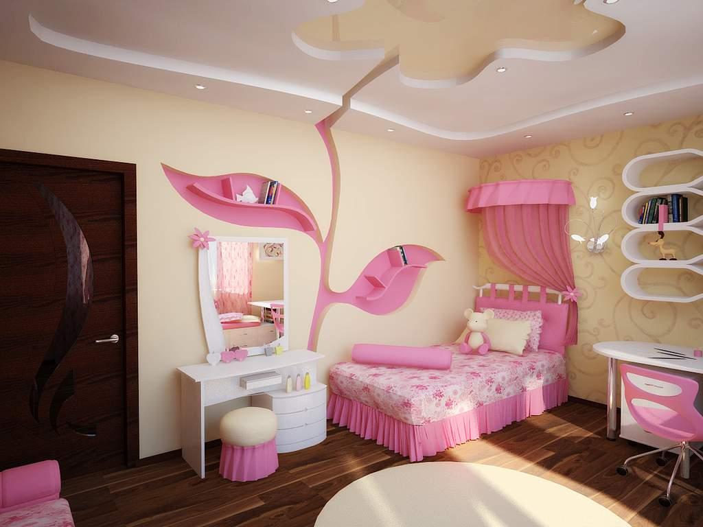 Цветок на потолке в детской для девочки