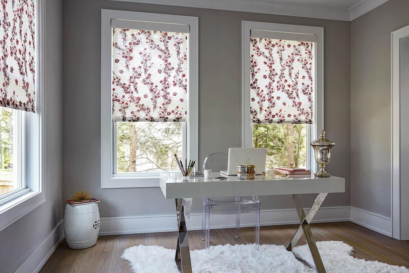 Рулонные шторы с цветочным рисунком