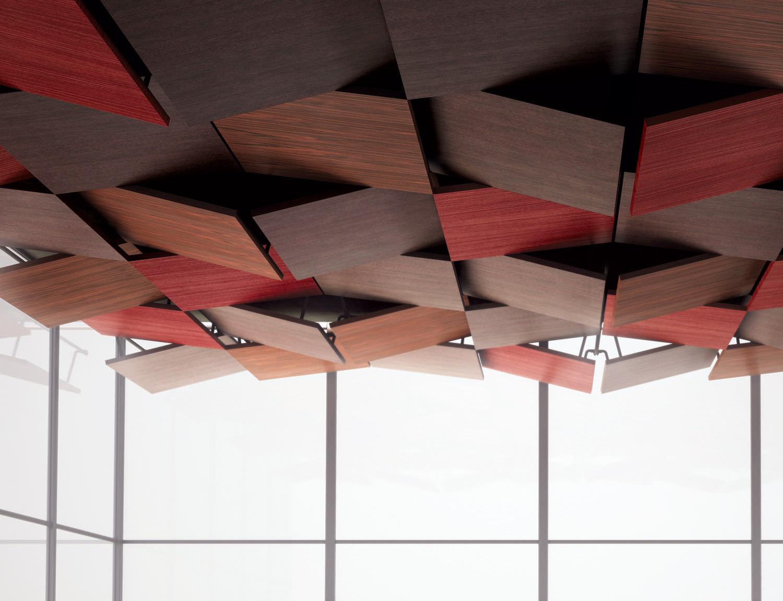 Акустический потолок из дерева