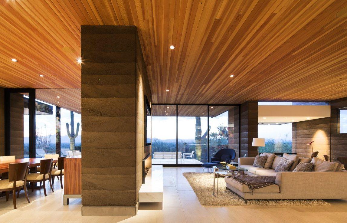 Бесшовный деревянный потолок