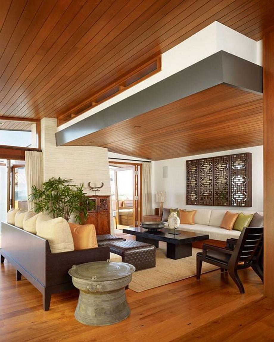 Деревянный потолок на даче