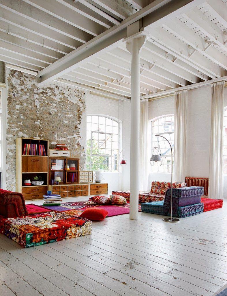 Деревянный потолок в стиле лофт