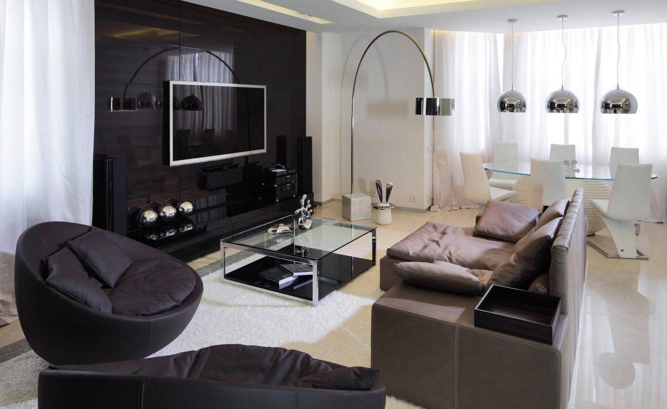 Дизайн глянцевой гостиной