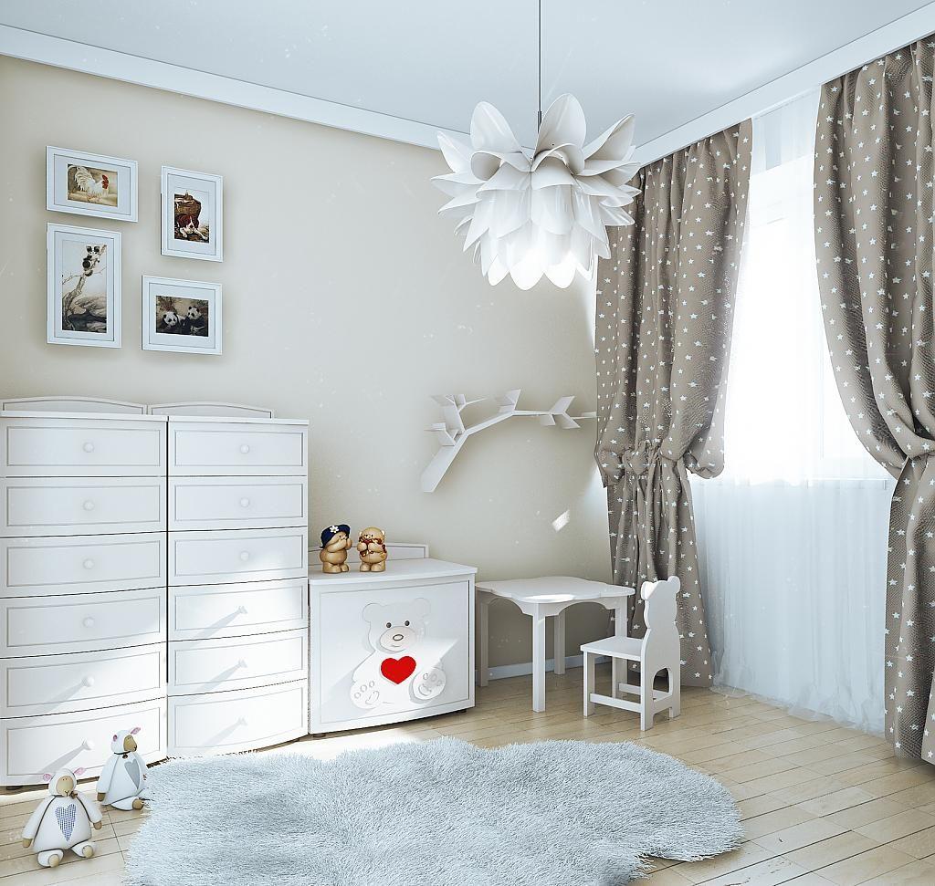 Серые шторы в детской