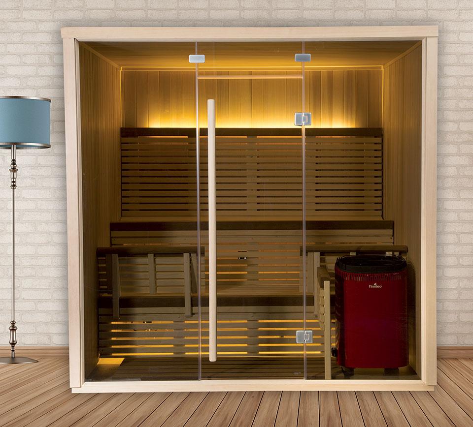 Стеклянная дверь с длинной ручкой для сауны