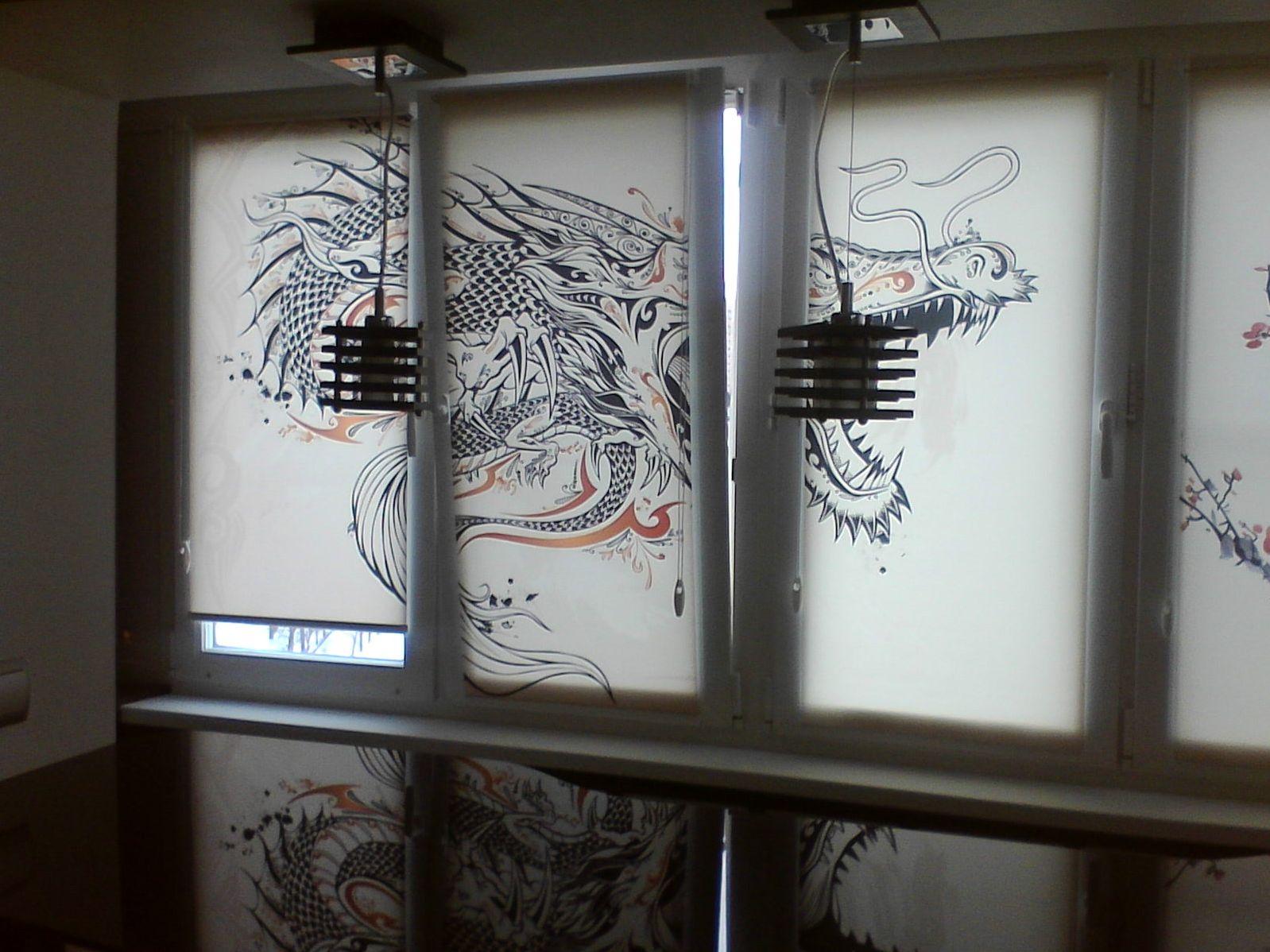 Кассетные шторы с драконом