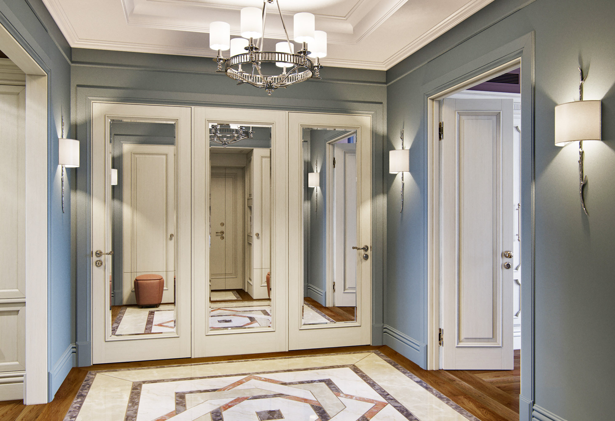 Двери в прихожей в классическом стиле