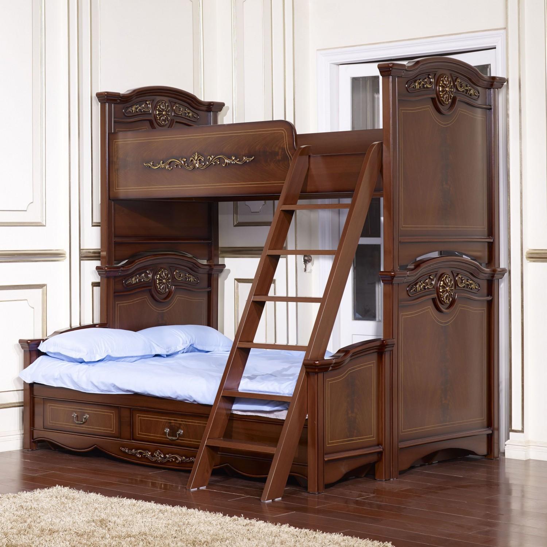 Двухэтажная кровать из ореха