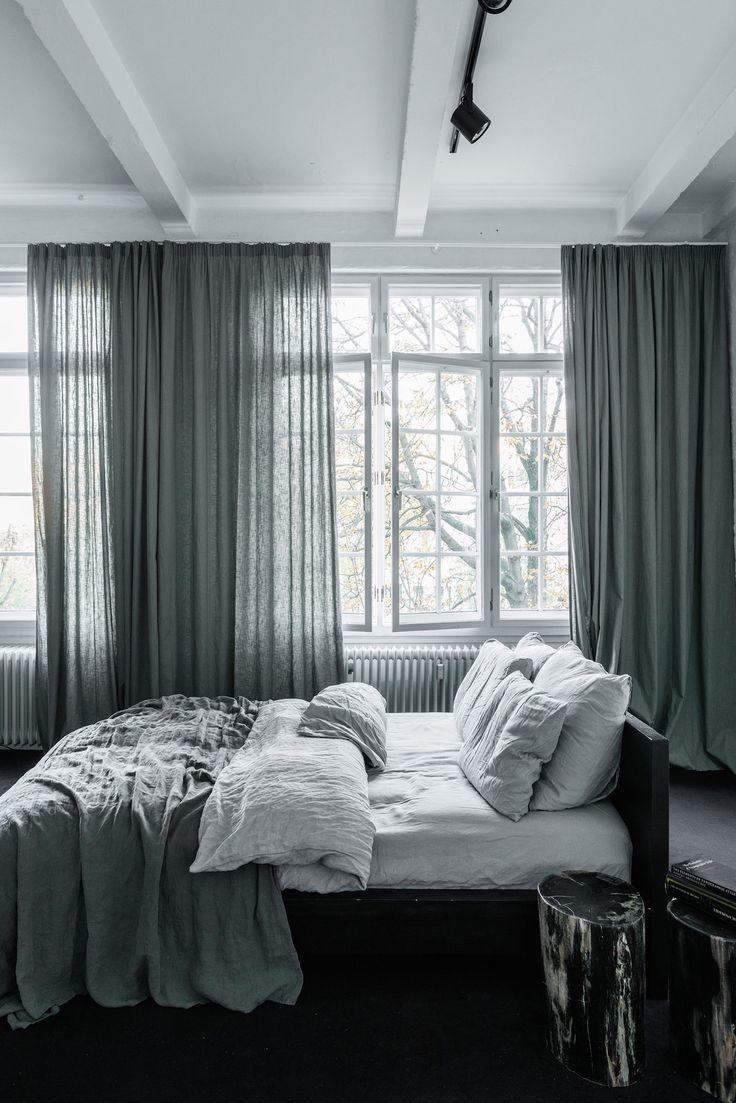 Серые шторы в стиле эко