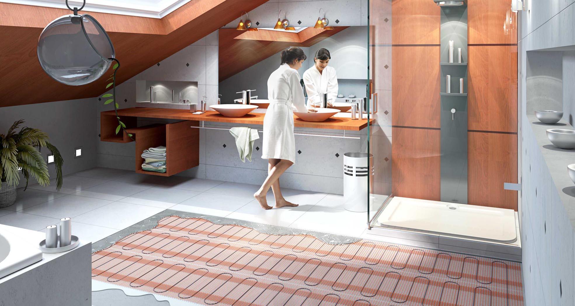 Теплый пол в ванной: особенности конструкции (20 фото)