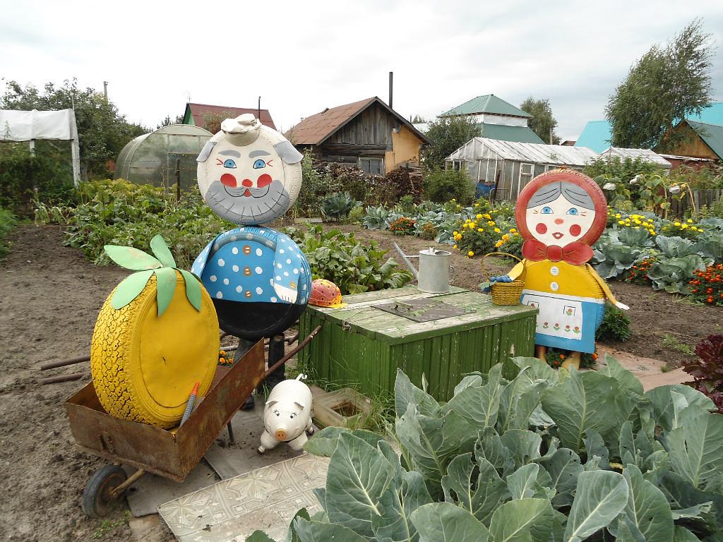 Фигурки из шин для сада