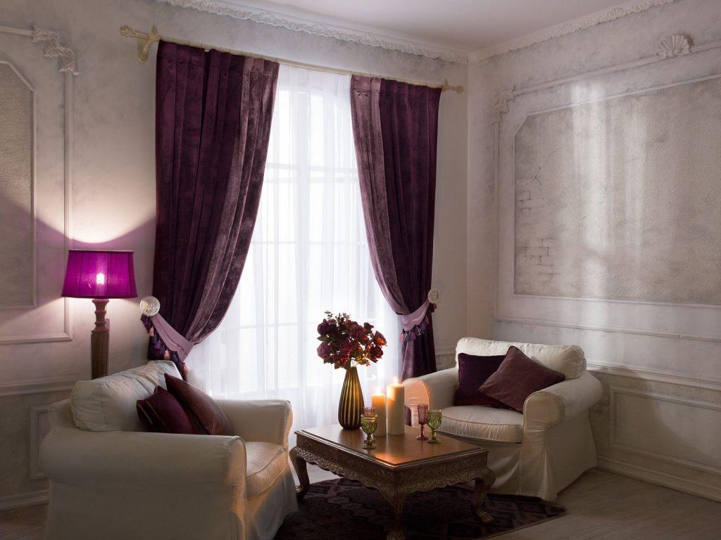 Комбинированные фиолетовые шторы