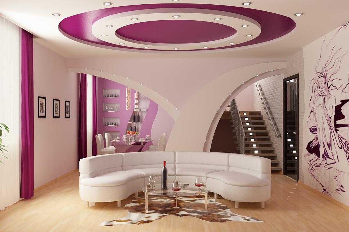 Фиолетовый фигурный потолок