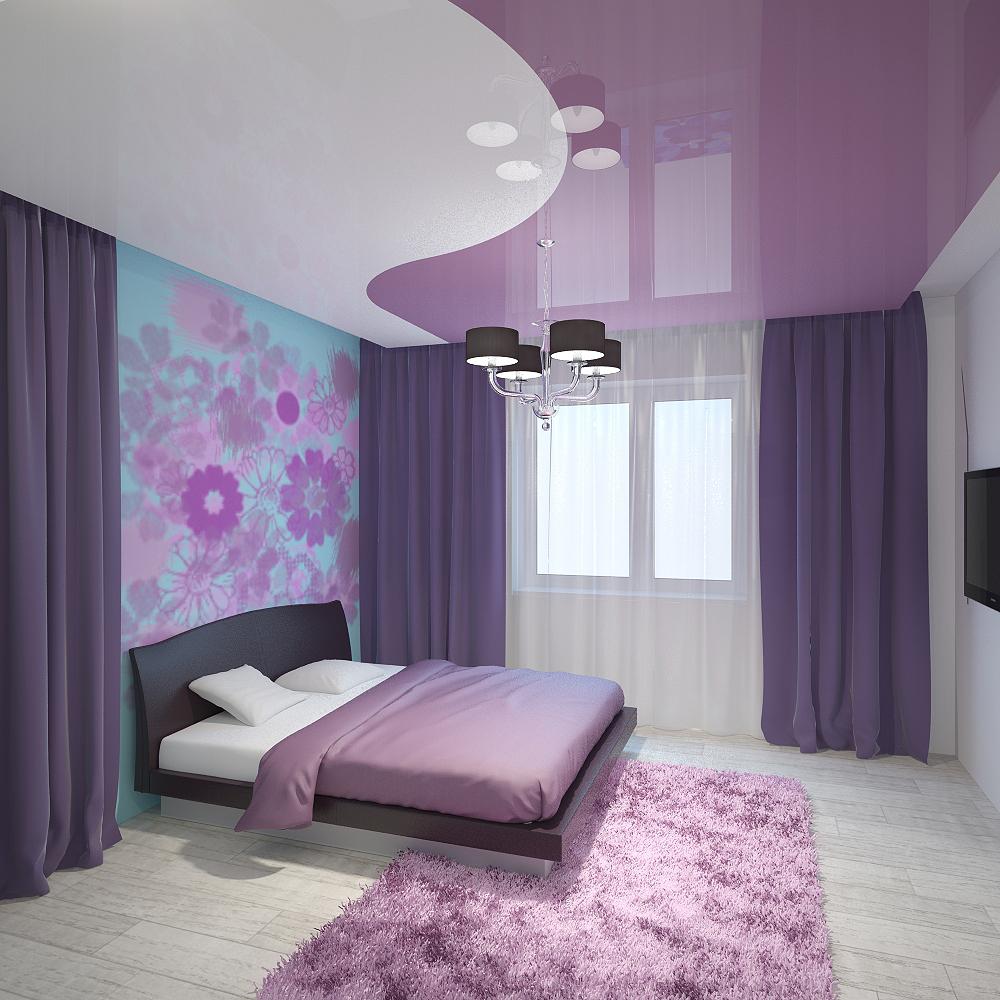 Двухцветный фиолетово-белый потолок