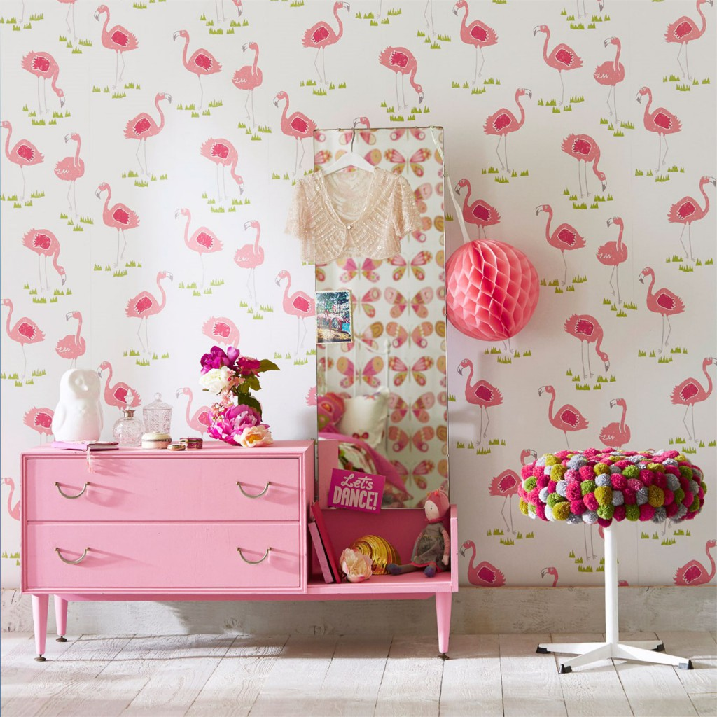 Обои с розовыми фламинго