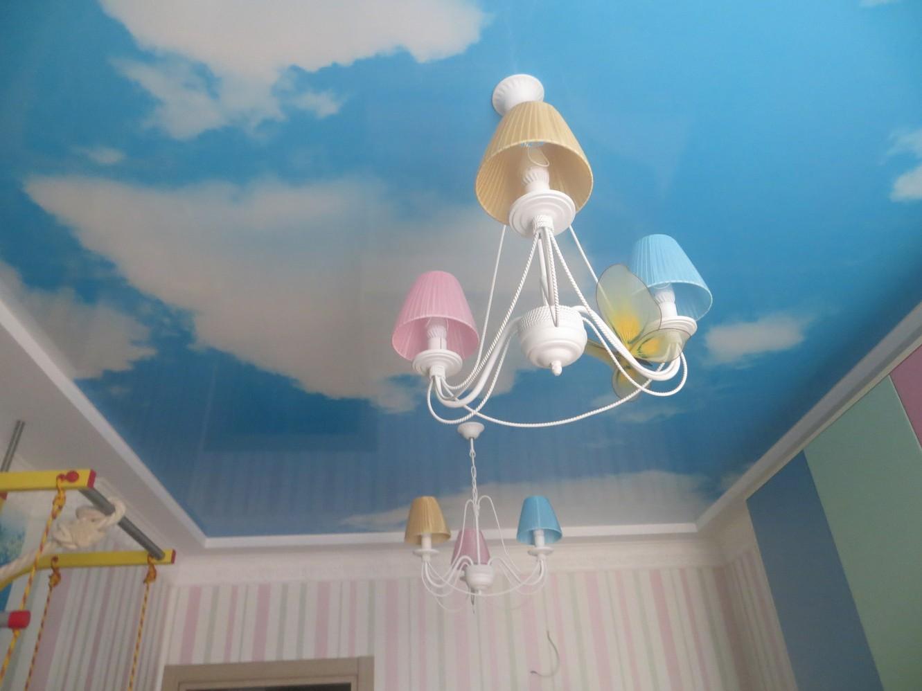 Голубой потолок с фотопринтом неба