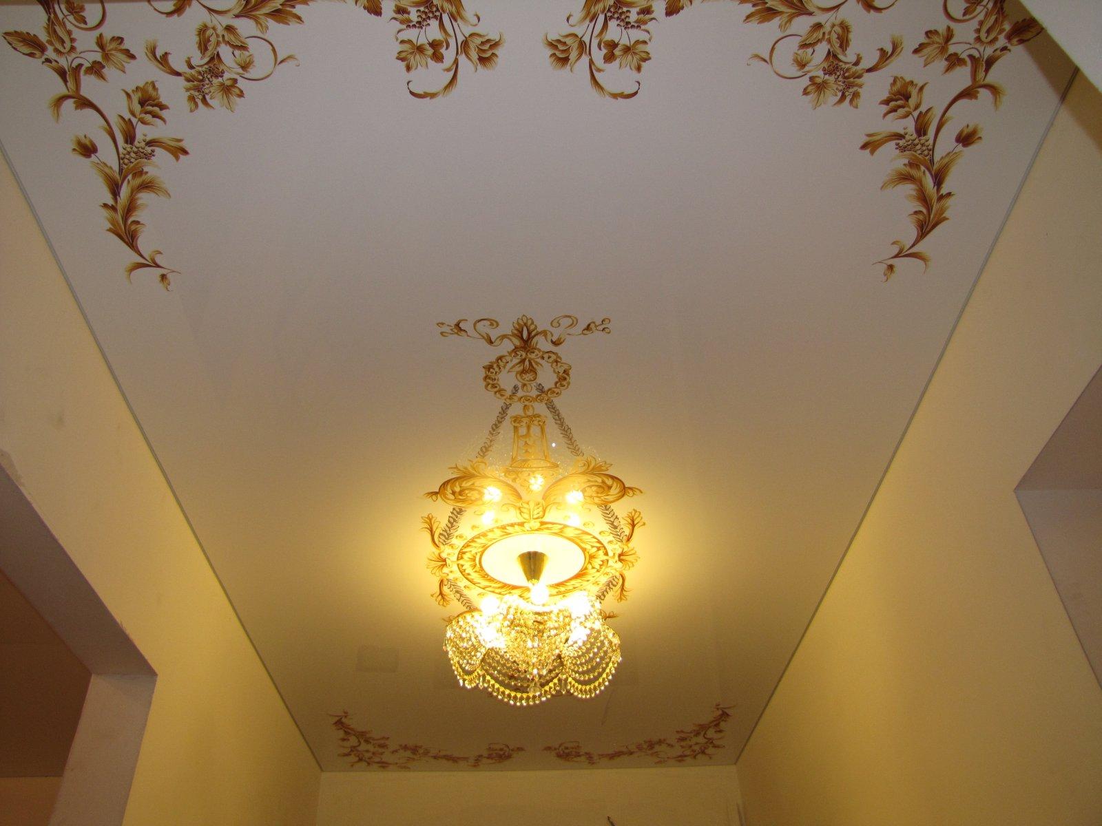 Натяжной потолок с фотопечатью в прихожей