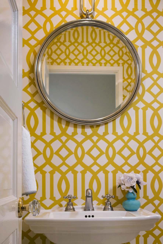 Желтые обои с геометрическим рисунком