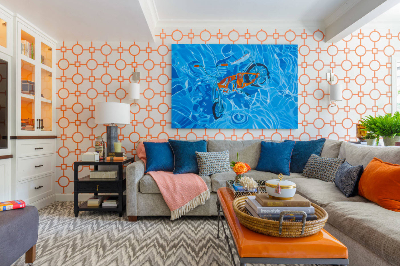 Оранжевые обои с геометрическим рисунком