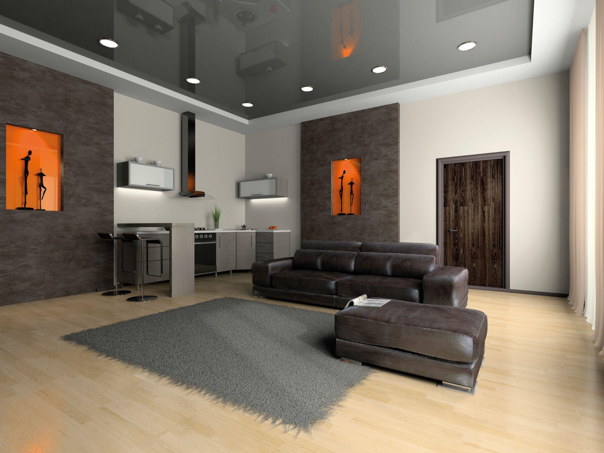 Натяжной глянцевый потолок серого цвета