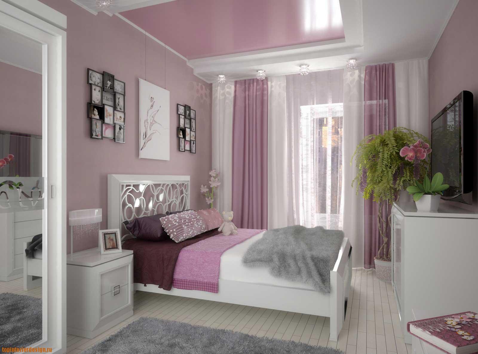 Глянцевый потолок в детской для девочки