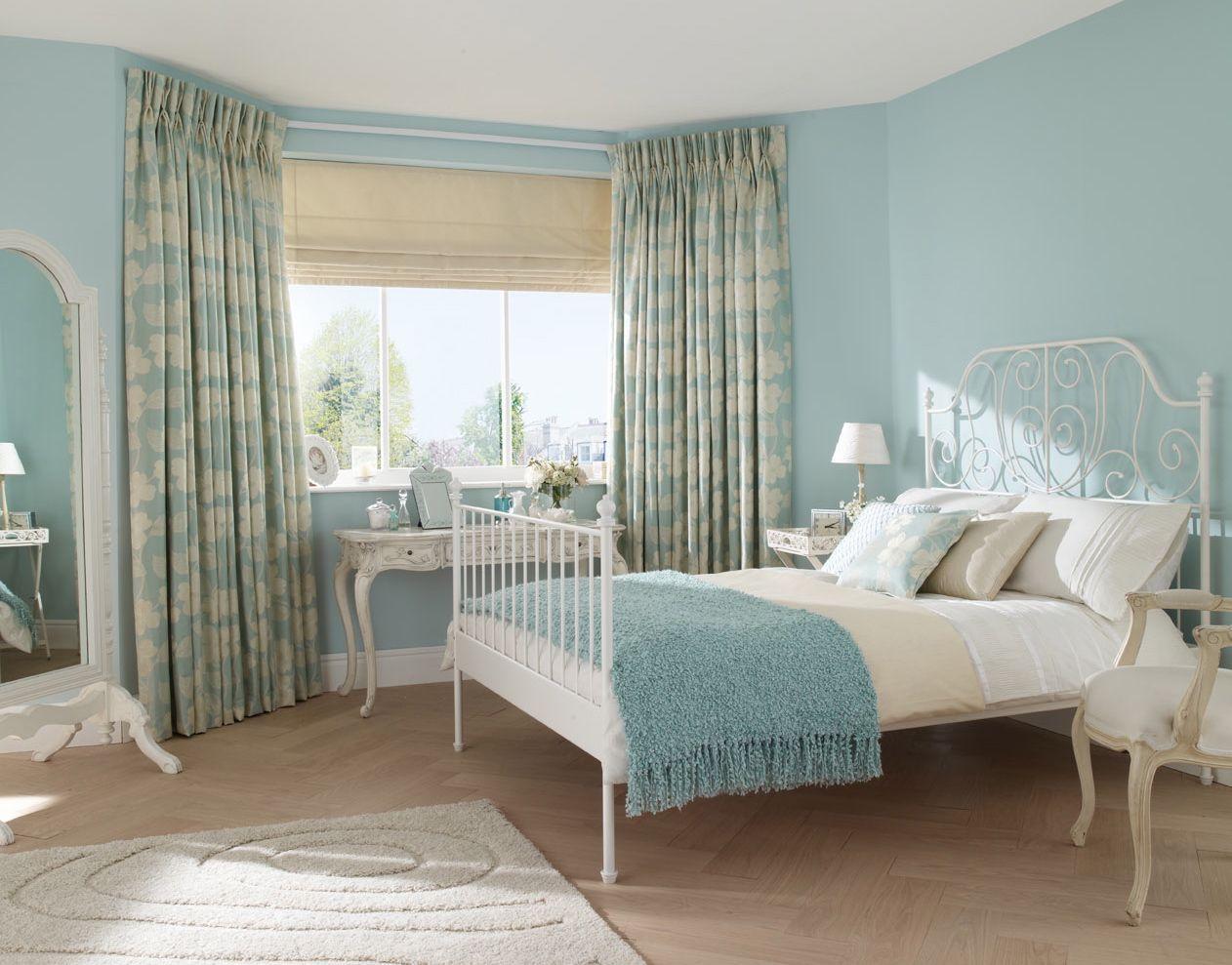Комбинированные голубые шторы