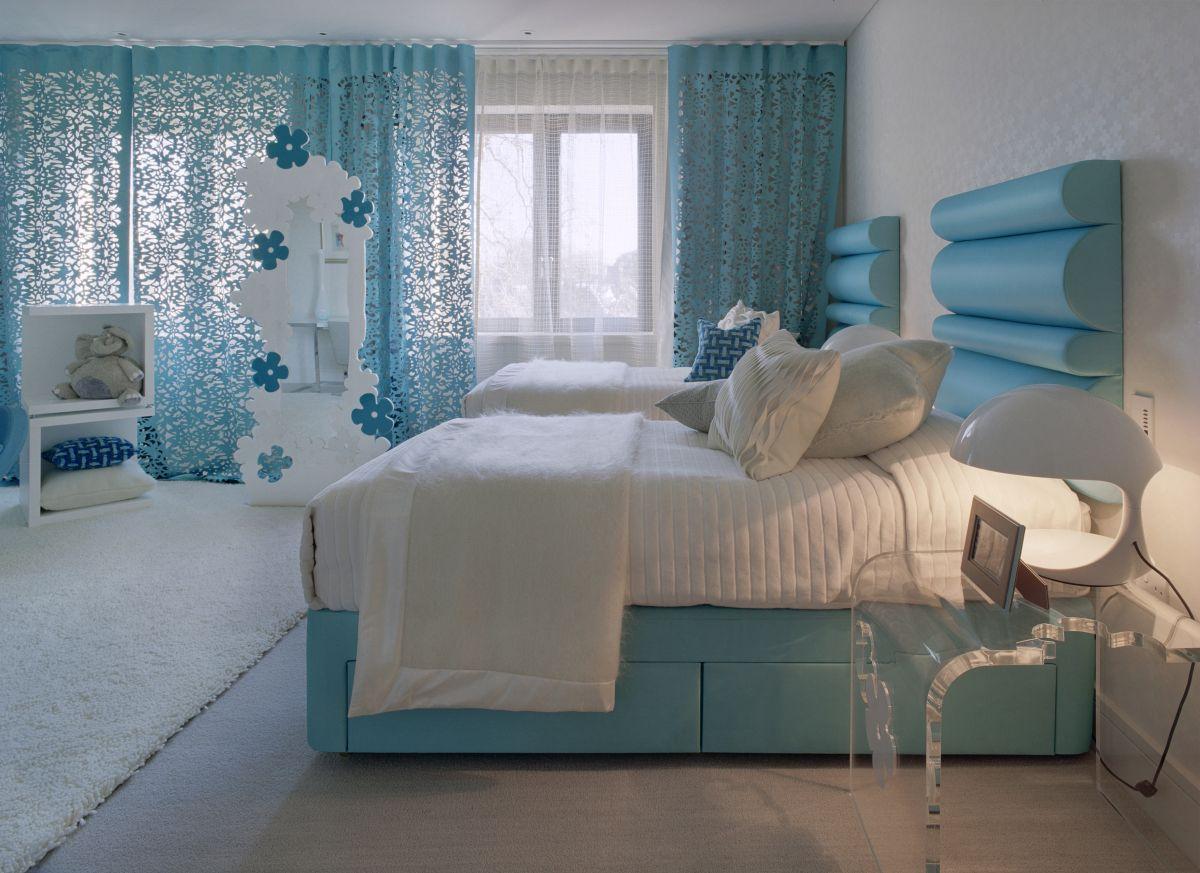 Голубые шторы для девочки