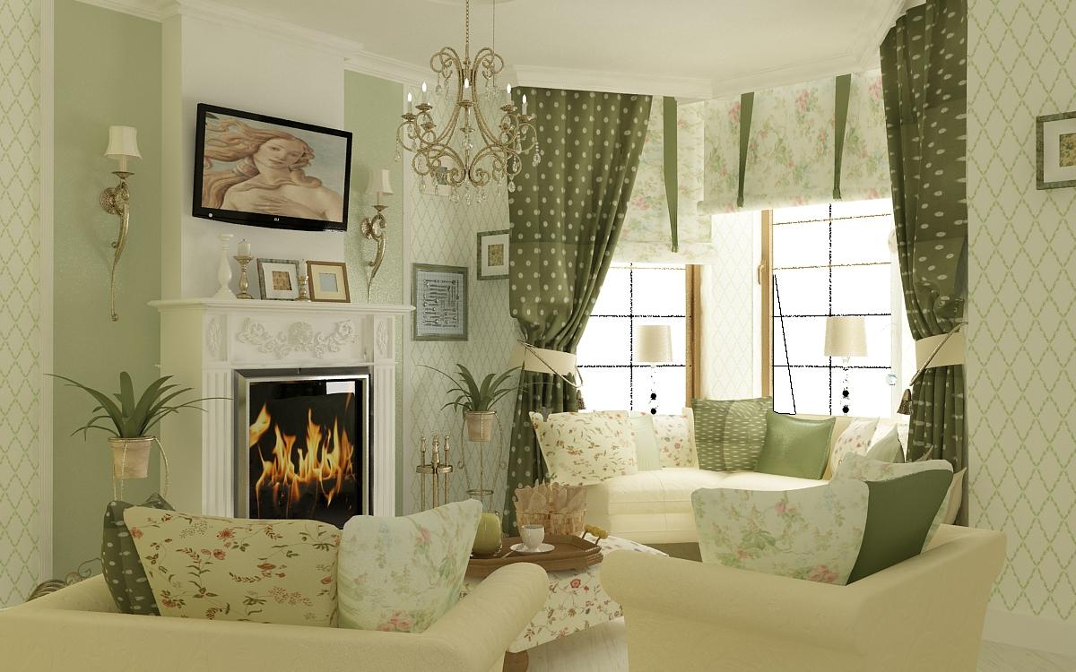 Зеленые шторы в горошек