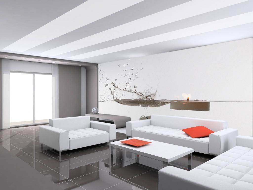 Акустический потолок в гостиной