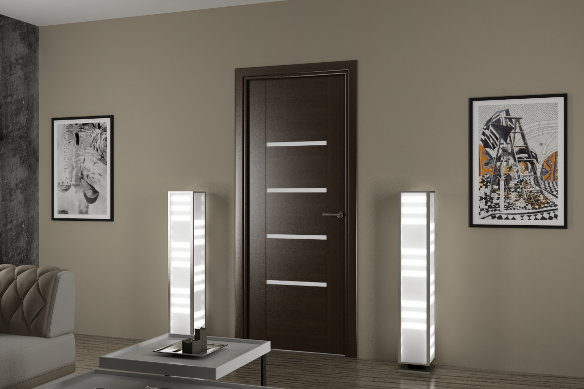Ламинированная дверь в гостиной