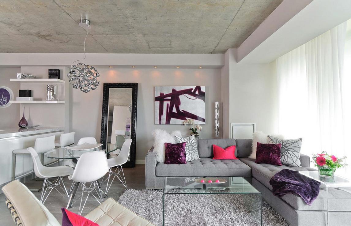 Бетонный потолок в гостиной