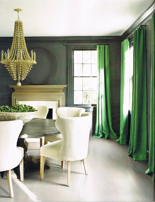 Зеленые шторы из хлопка